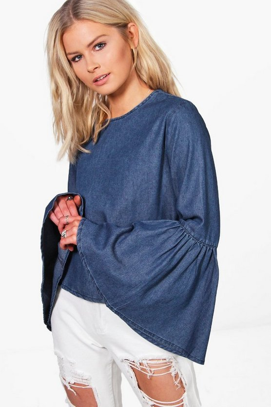 Jennifer Flute Sleeve Denim Top