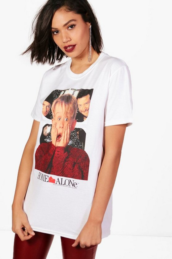 Womens White Erin Home Alone Licence T-Shirt