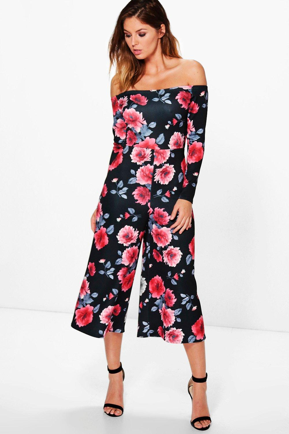 b93852a5cff Fia Bardot Floral Culotte Jumpsuit. Hover to zoom