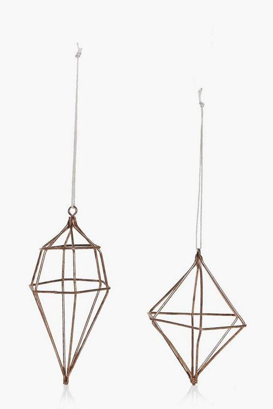2 Pack Copper Geo Christmas Decorations