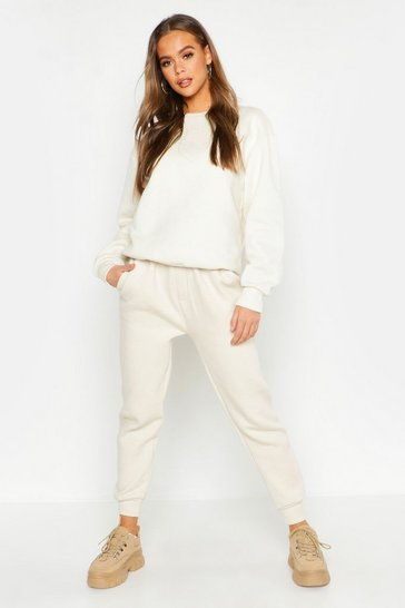 Womens Ecru Basic Sweat Joggers