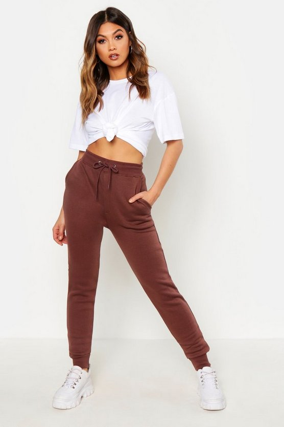 Womens Taupe Basic Sweat Joggers