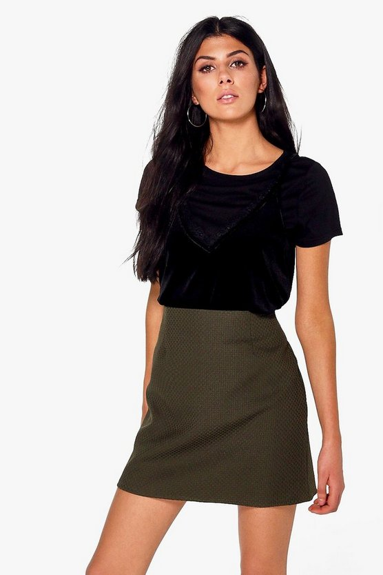 Textured Woven A Line Mini Skirt