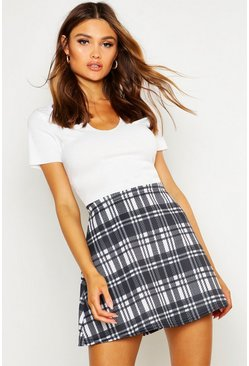 Womens Multi Monochrome Check A Line Mini Skirt