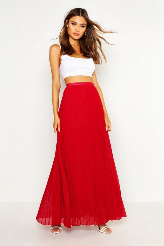 Womens Berry Chiffon Pleated Maxi Skirt