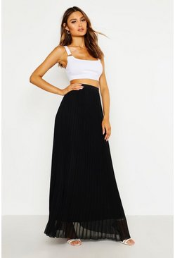 Womens Black Chiffon Pleated Maxi Skirt