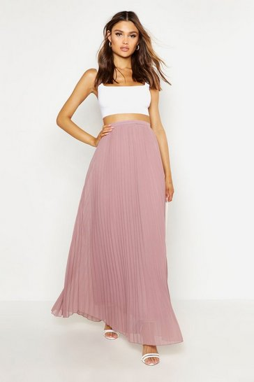 Taupe Chiffon Pleated Maxi Skirt
