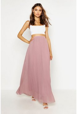 Womens Taupe Chiffon Pleated Maxi Skirt