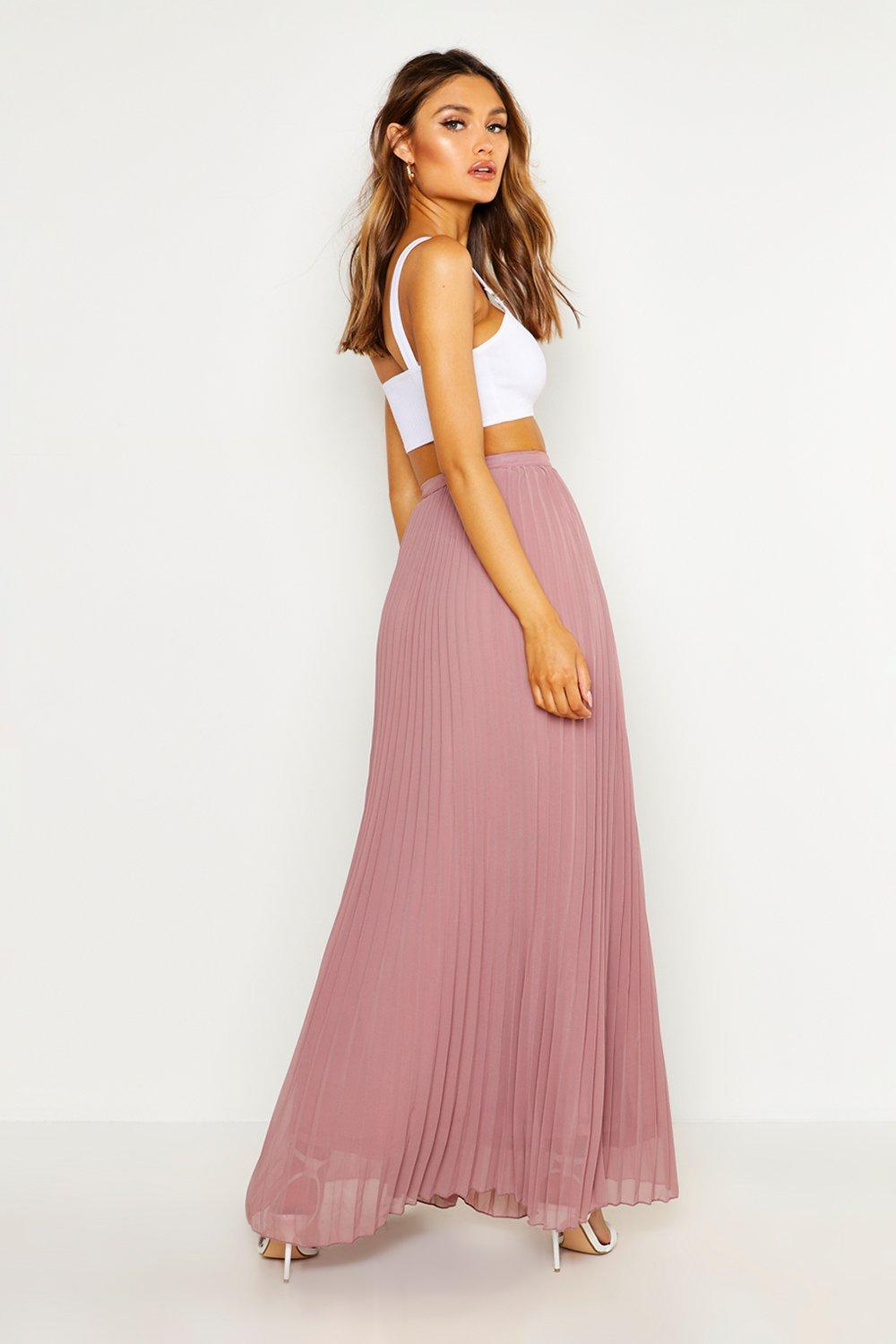 NEW-Boohoo-Womens-Chiffon-Pleated-Maxi-Skirt-in-Lining-100-Polyester