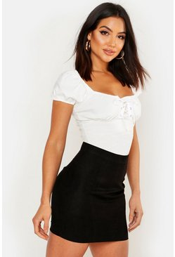 Black Woven Soft Suedette A Line Mini Skirt