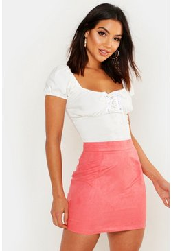 Rose Woven Soft Suedette A Line Mini Skirt