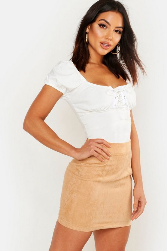 Sand Woven Soft Suedette A Line Mini Skirt