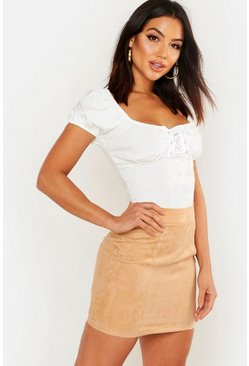 Womens Sand Woven Soft Suedette A Line Mini Skirt