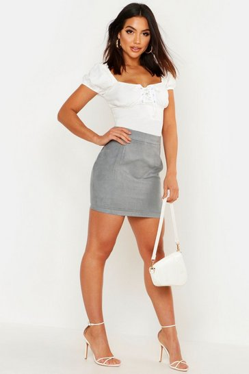 Sky Woven Soft Suedette A Line Mini Skirt