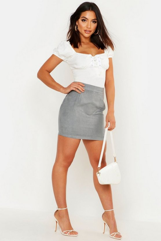 Womens Sky Woven Soft Suedette A Line Mini Skirt