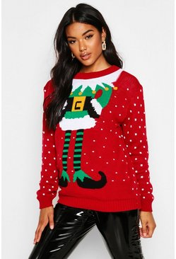 Womens Red Elf Christmas Jumper