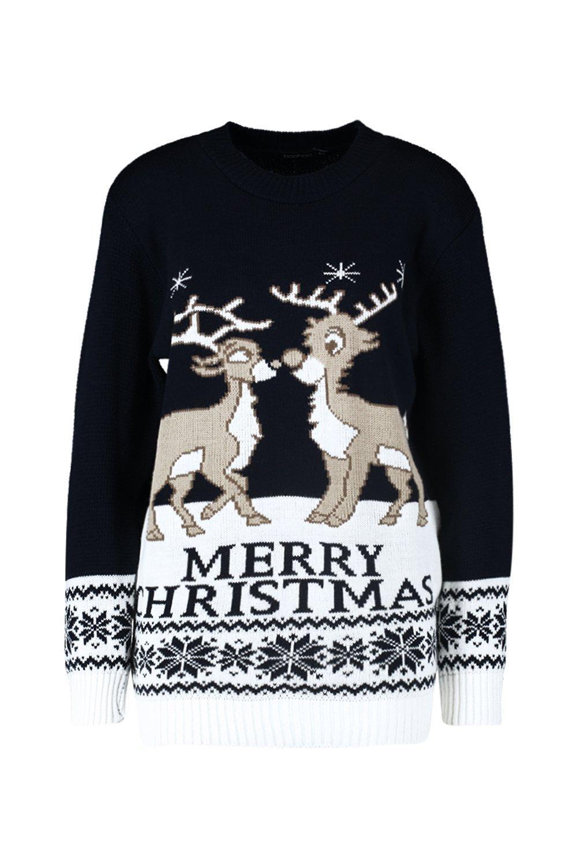 navideño Azul marino renos Jersey de 4AwXAq