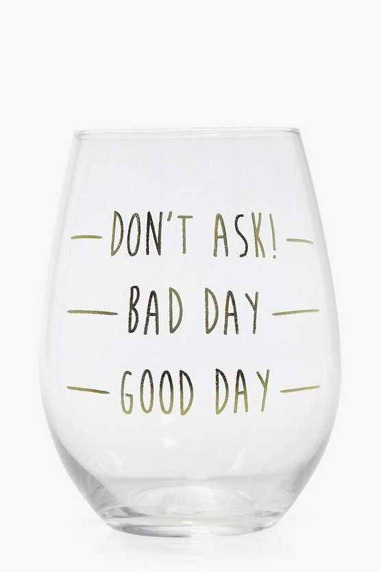 Womens Clear Bad Day Stemless Wine Glass