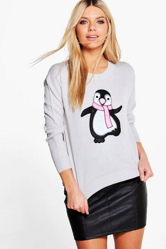 alice pullover con applique di pinguino