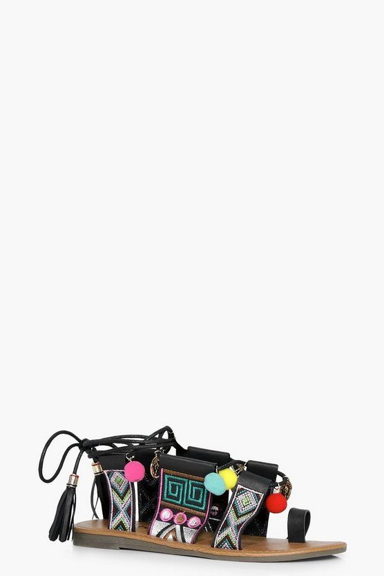 Nina Embroidered And Pom Detail Ghillie Sandals