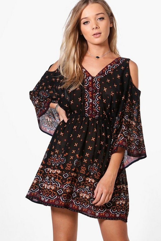 Womens Multi Cold Shoulder Shirt Dress