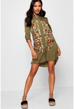 Womens Frill Embroidered Shirt Dress