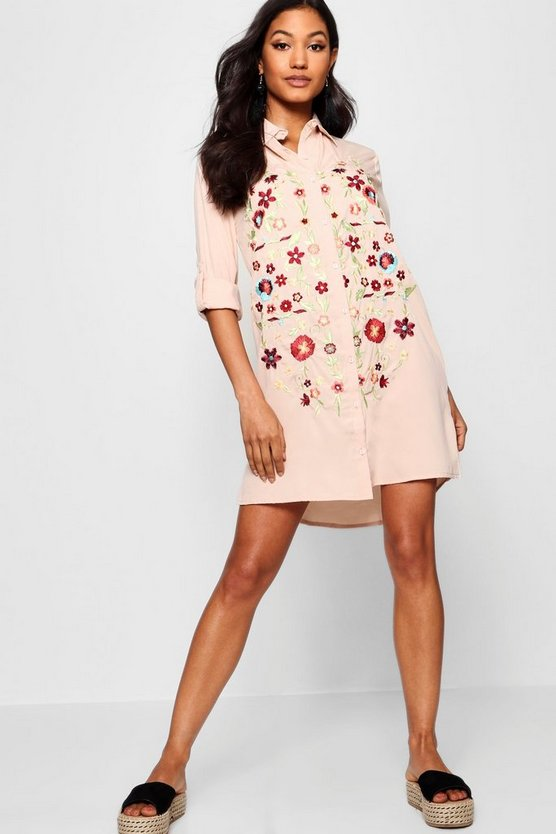 Frill Embroidered Shirt Dress