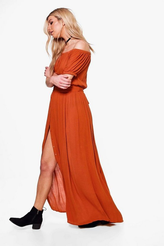 Willow Off Shoulder Button Tie Maxi Dress