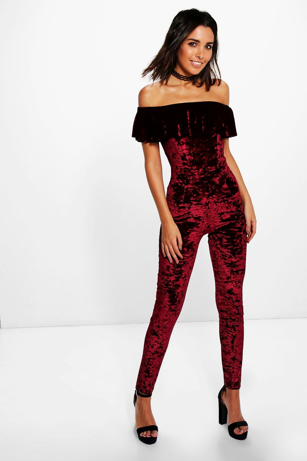 Diana Crushed Velvet Off The Shoulder Frill Jumpsuit Boohoo