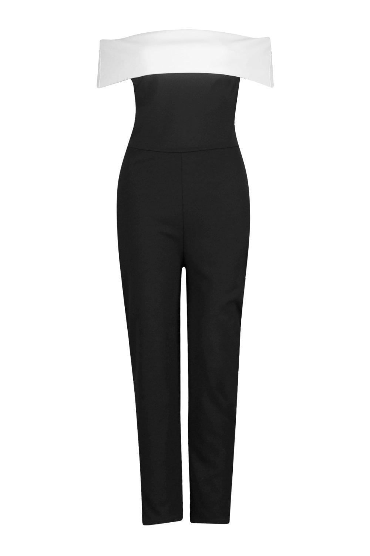 Gaynor Contrast Bardot Skinny Leg Jumpsuit | Boohoo