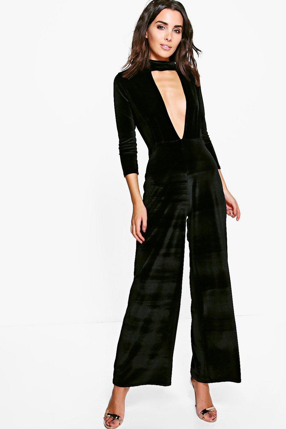 f873f0e40f Hannah Choker Plunge Velvet Jumpsuit