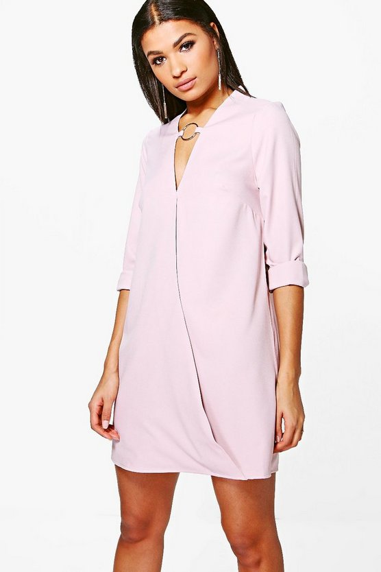 Kya O-Ring Detail Wrap Front Shirt Dress