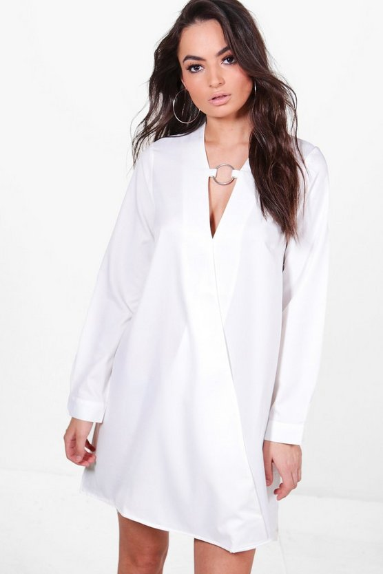 O-Ring Detail Wrap Front Shirt Dress