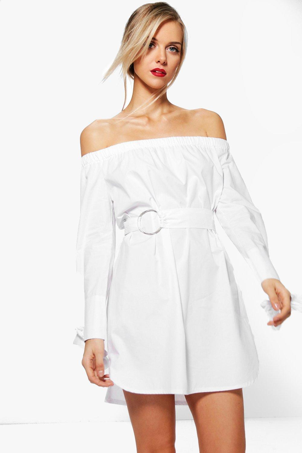 26ae8438064b Ava Off Shoulder O-Ring Belted Shift Dress. Hover to zoom