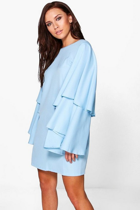 Womens Bluebell Eva Oversized Ruffle Flute Sleeve Shift Dress