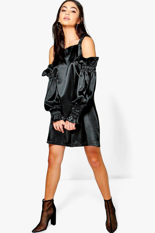 Satin Cold Shoulder Flute Sleeve Shift Dress  black
