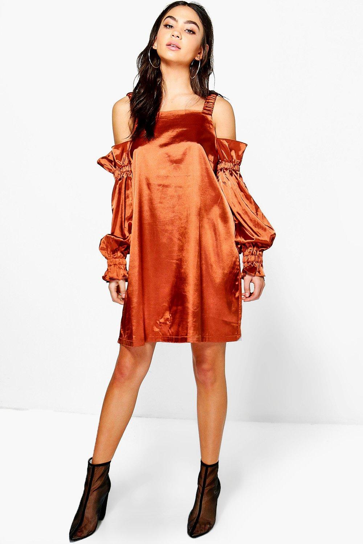 Satin Cold Shoulder Flute Sleeve Shift Dress  copper