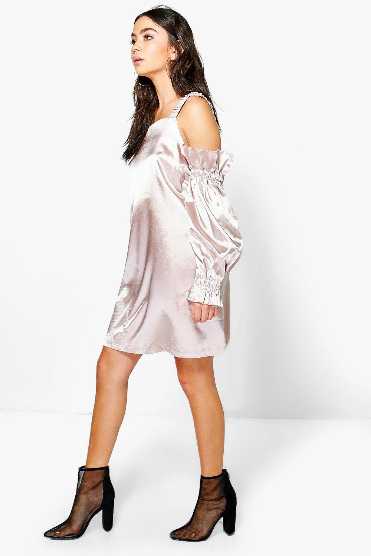 Satin Cold Shoulder Flute Sleeve Shift Dress  nude