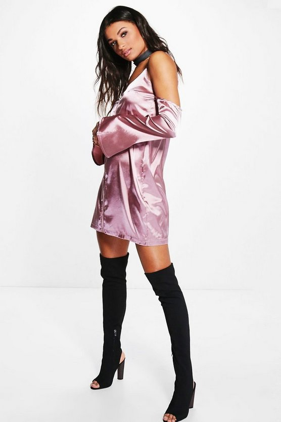 Vera Cold Shoulder Satin Slip Shift Dress