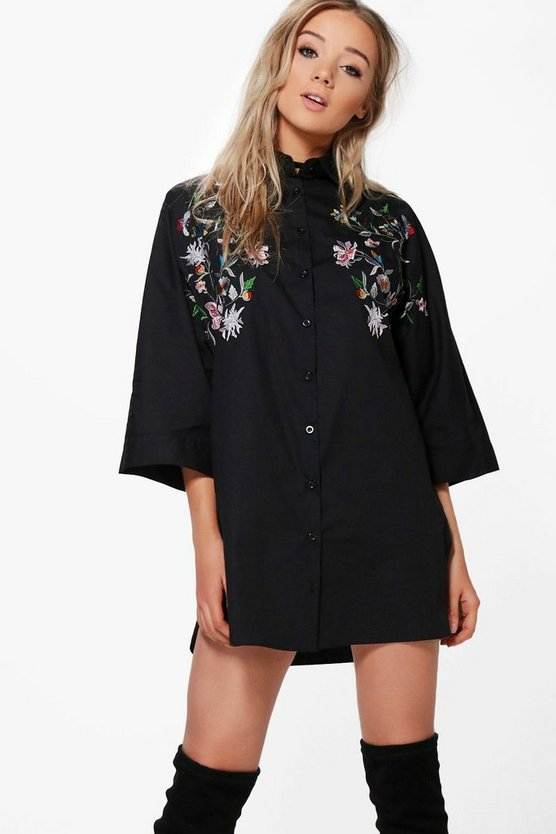Embroidered Wide Sleeve Shirt Dress