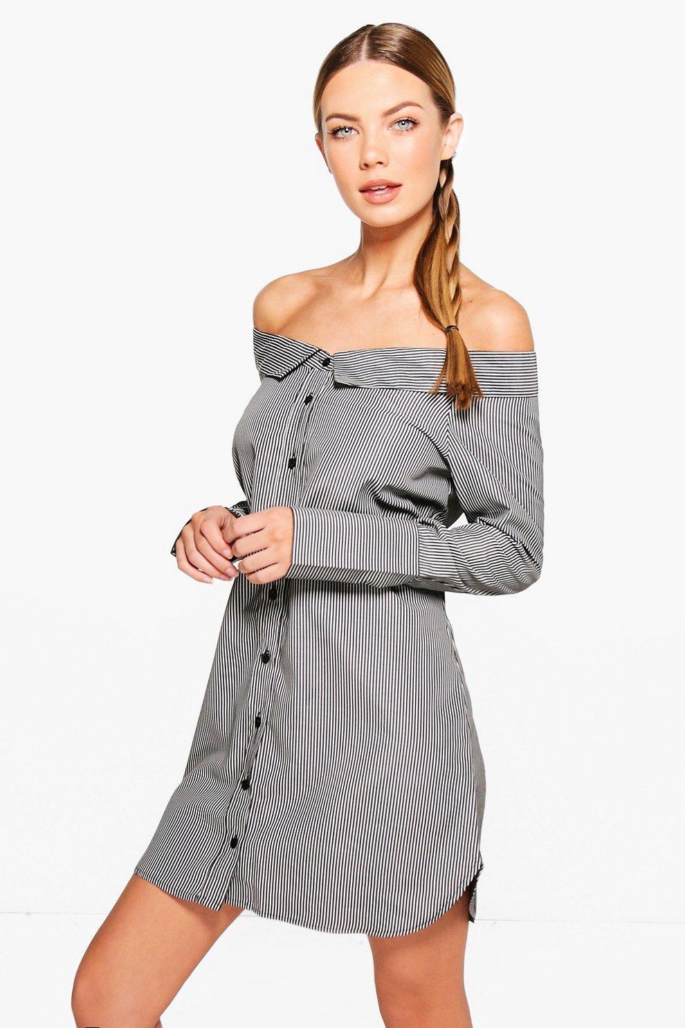 60fab21aaefa Louise Stripe Off Shoulder Shirt Dress