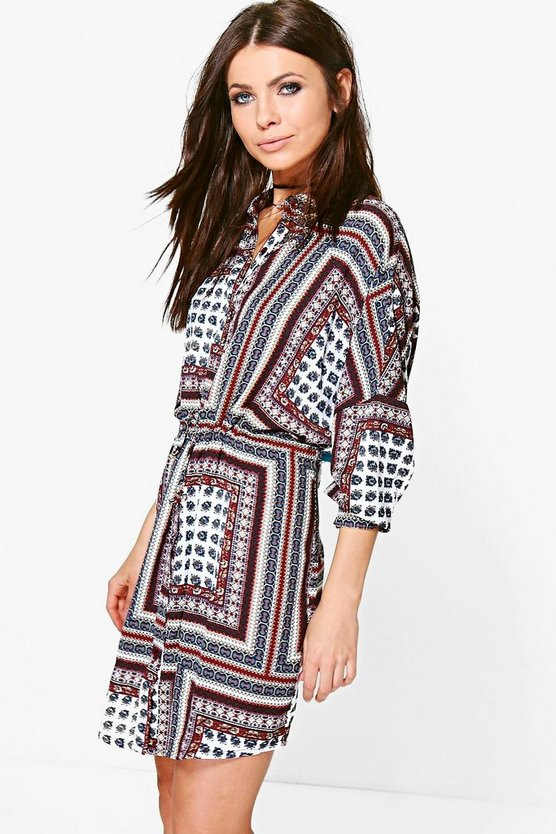 Amy Paisley Border Print Tie Front Shirt Dress