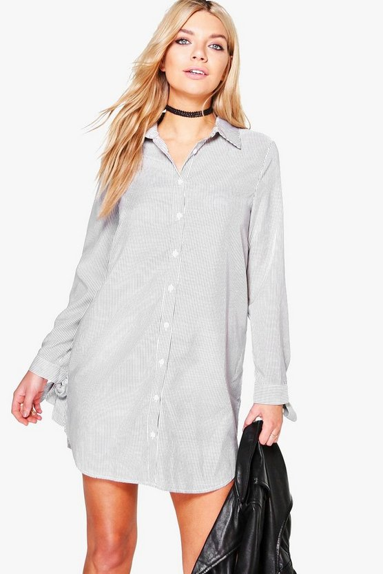 Whitney Stripe Tie Sleeve Shirt Dress