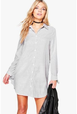 Womens Black Whitney Stripe Tie Sleeve Shirt Dress