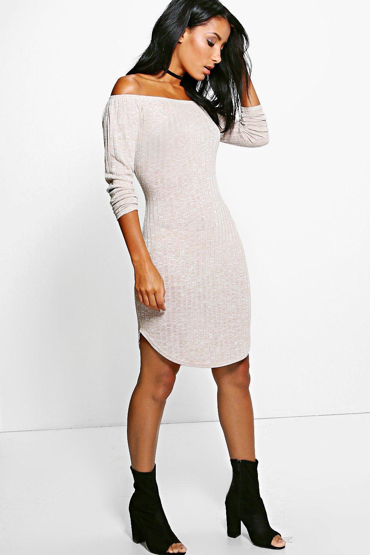 5dba054f8ab5 Louise Bardot Rib Knit Dress | Boohoo