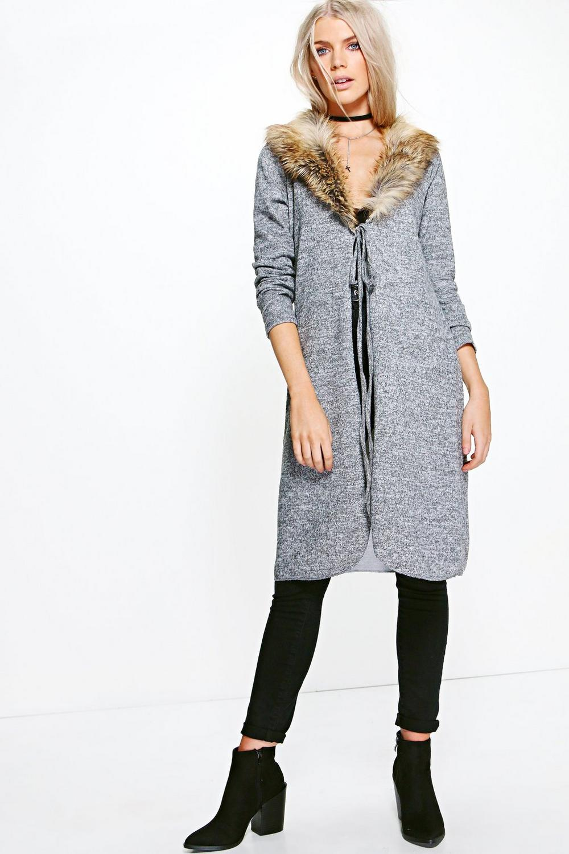 567beccc27 Sadie Faux Fur Trim Belted Longline Cardigan