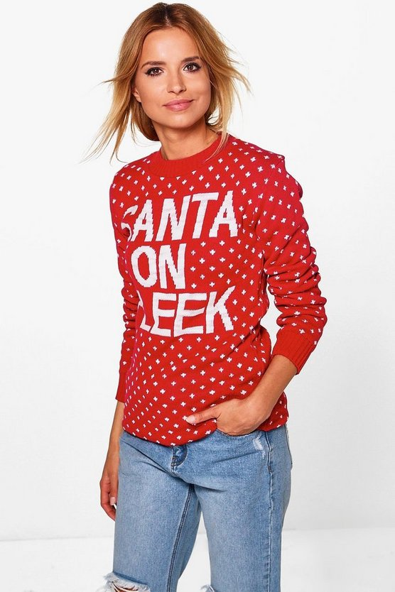 Womens Red Emma Santa on Fleek Christmas Jumper