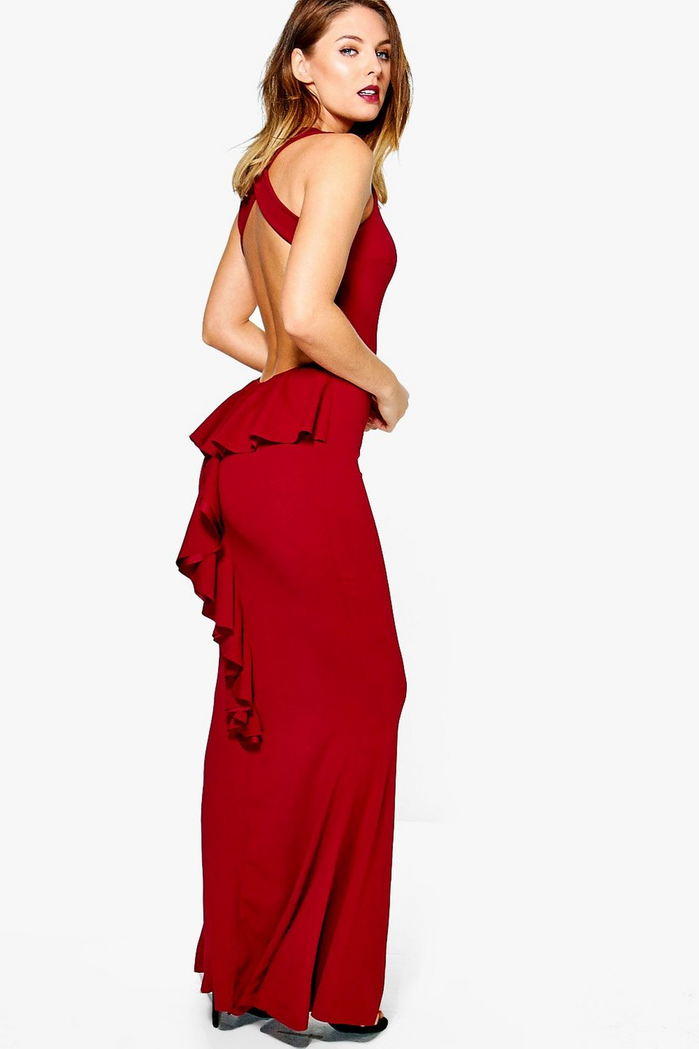 4c4e5c2547500 Becca Ruffle Back Fishtail Maxi Dress | Boohoo