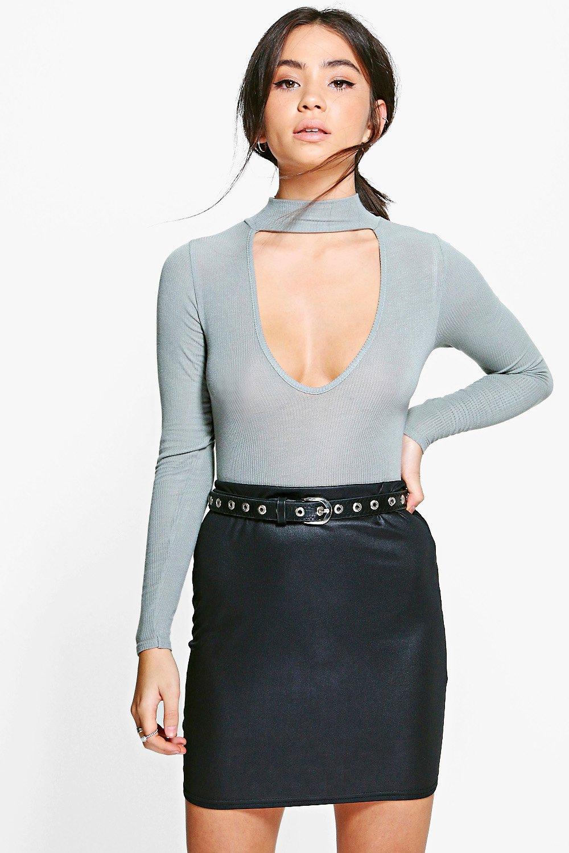 93fb0a5abd Womens Black Priya Wet Look Basic Mini Skirt. Hover to zoom
