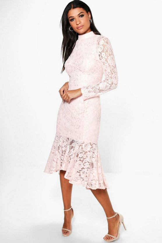 Boutique Emzy Lace Peplum Hem Midi Dress